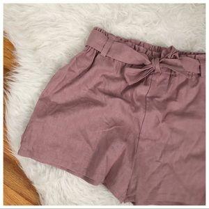 Dusty Rose Paper Bag Shorts • Bebop